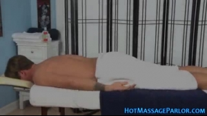 Squirting blonde masseuse rubs her patient